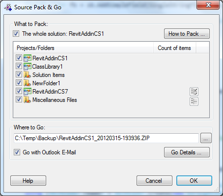 A New Widget of Revit Addin Wizard: Source Pack & Go – Go Via