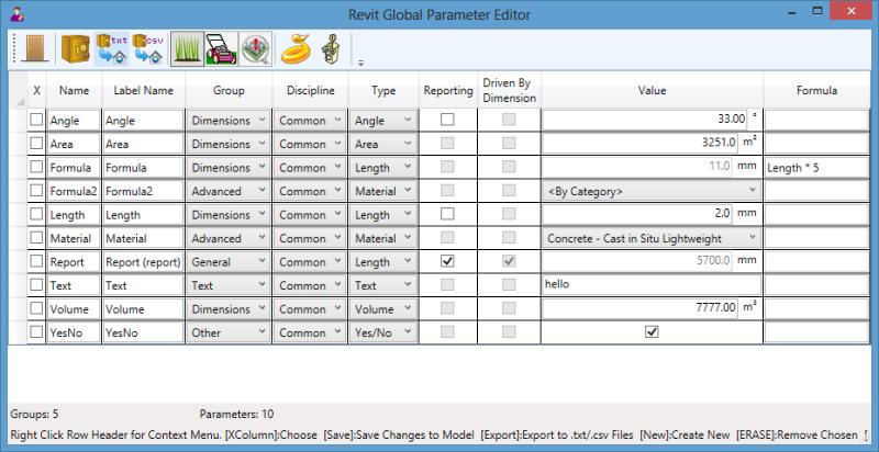 Revit Parameter Organizer 2018: Global Parameters - View/Edit